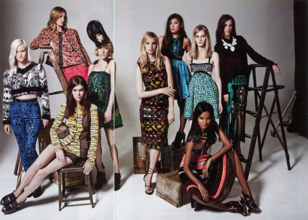 Olympia Scarry, Victoria Traina, Chole Sevigny, Lauren Santo Domingo, Jen Brill, Julia Nobis, Vanessa Traina, Meghan Collison, and Liya Kebede. Photographer: Tom Munro, Proenza Schouler , W October 2012