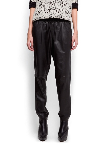 Mango Leather tapered trouser