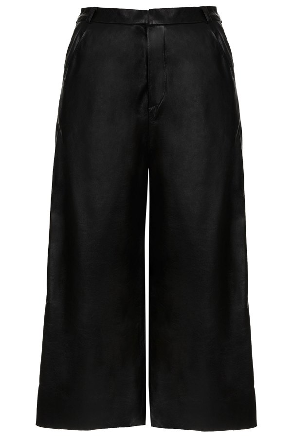 Wide Leather Culottes By Boutique