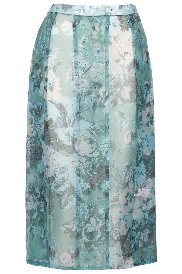 Mint floral silk organza kilt By Topshop Boutique