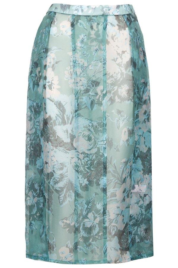 Mint floral silk organza kilt By Topshop Boutique